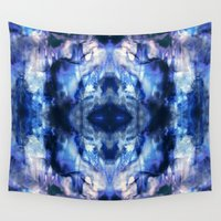 tie dye Wall Tapestries featuring Blue Lagoon Tie-Dye by Nina May Designs