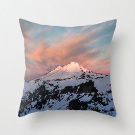 Mount Baker Mountain Adventure Sunset - Nature Photography Throw Pillow