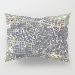 Madrid city map engraving Pillow Sham