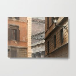 Street View of the Pantheon of Rome Metal Print