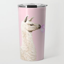 Playful Llama Chewing Bubble Gum in Pink Travel Mug
