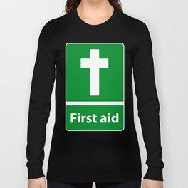 First Aid Cross - Christian Sign Illustration Long Sleeve T-shirt