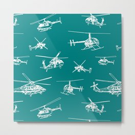 Helicopters on Teal Metal Print