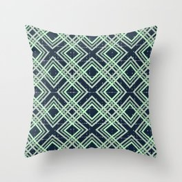 Abstract pattern.The green square on a dark blue background. Throw Pillow