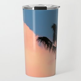 Pink Cotton Candy Cloud and Palm Tree Travel Mug