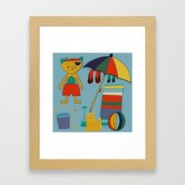 cat at the beach blue Framed Art Print
