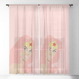 woman of wonder pink hair Sheer Curtain