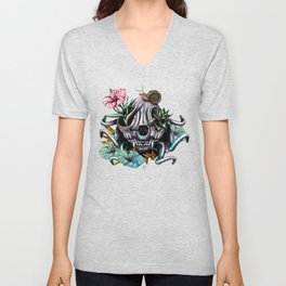 The Skull the Flowers and the Snail CoLoR Unisex V-Neck