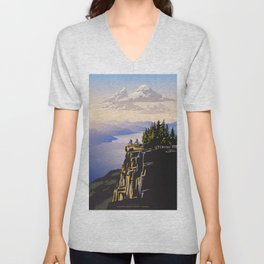 Retro travel BC poster Unisex V-Neck