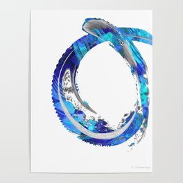 White And Blue Abstract Art - Swirling 4 - Sharon Cummings Poster
