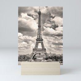 Eiffel Tower in sepia in Paris, France. Landmark in Europe Mini Art Print