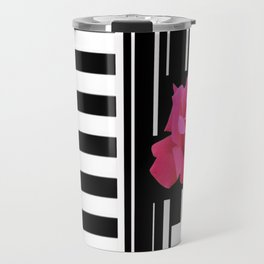 MODERN ABSTRACT PINK ROSES WHITE-BLACK ART Travel Mug
