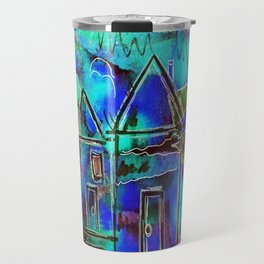 Neon Blue Houses Travel Mug