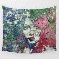 mona lisa Wall Tapestries featuring Farewell, Mona Lisa by Kiss My Art