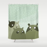 beaver Shower Curtains featuring a beaver, a squirrel and a no particular rodent by Fuzzorama
