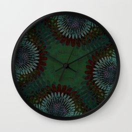Purple and Orange Palm leaves Wall Clock