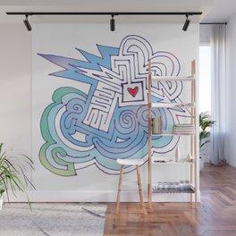 Arrow thru Heart Maze Cloud Wall Mural