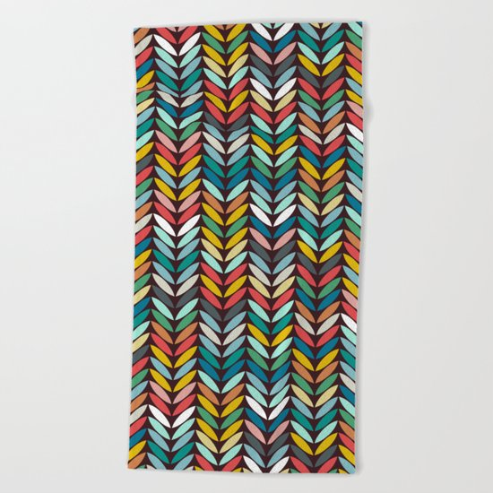 llama leaf arrow chevron dark Beach Towel