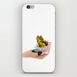 Butterfly on water lily iPhone Skin