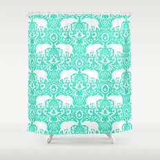 Elephant Damask Mint Shower Curtain
