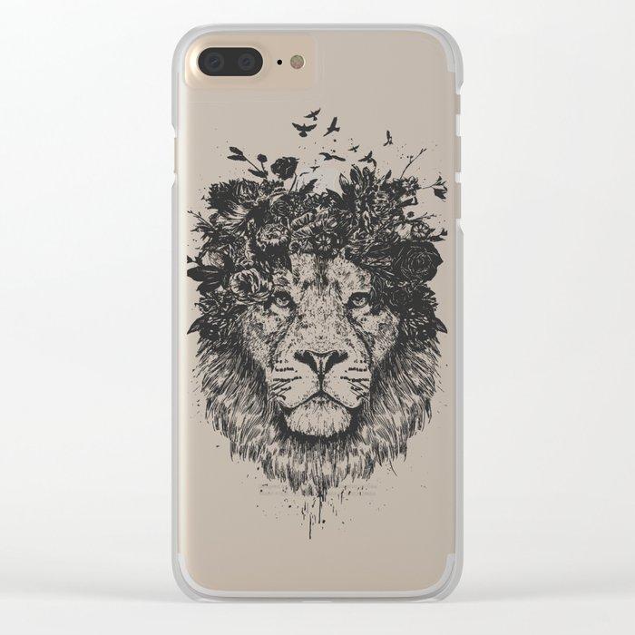 Floral lion (b&w) Clear iPhone Case