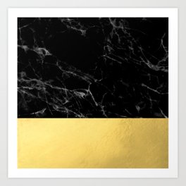 Black Marble & Gold Art Print