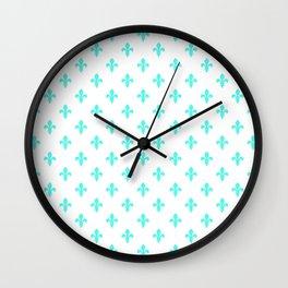 Fleur-de-Lis (Turquoise & White Pattern) Wall Clock