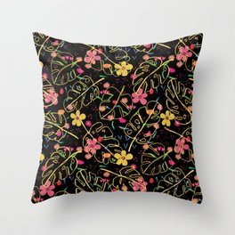 Yellow leaves and pink flower pattern Throw Pillow