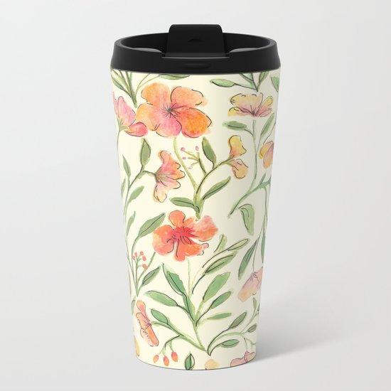 Watercolor Botanical Pattern Metal Travel Mug