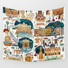 Rome map Wall Tapestry
