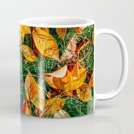 Orange Autumn Leaves Background In Fall Season, Autumn Season, Fall Background, Falling Leaves, Art Coffee Mug