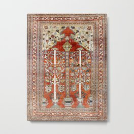 Silk Tabriz Northwest Persian Rug Print Metal Print