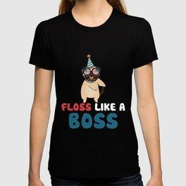 Floss Like A Boss Dance Shirt Pug Flossing Dog 4th Of July T-shirt