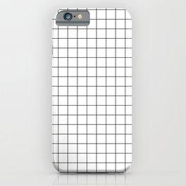 Large Black Grid on White iPhone Case