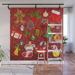 Cute Christmas Mix, red Wall Mural