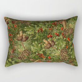 Traditional Holly Christmas Pattern Rectangular Pillow