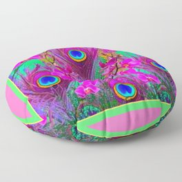 Pink Blue Green Peacock Feathers Lavender Orchid Patterns Art Floor Pillow