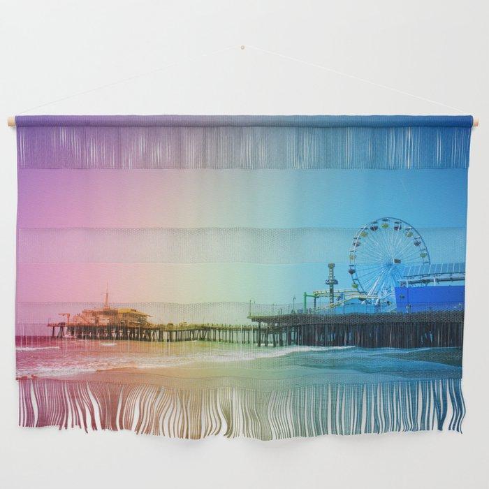 Santa Monica Pier Rainbow Colors Wall Hanging
