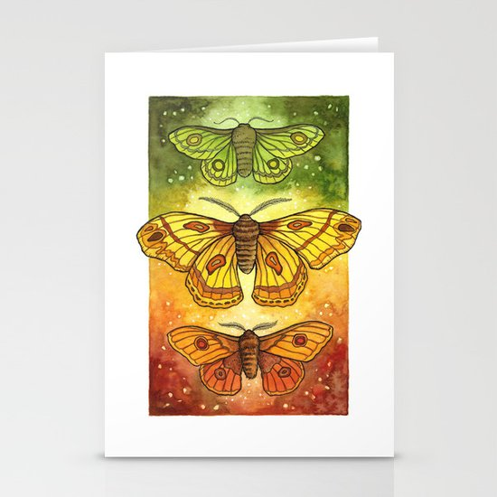 Moth Trio: Autumnal Twilight Stationery Cards