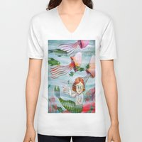 siren V-neck T-shirts featuring SIREN by Lauraballa StudioArte