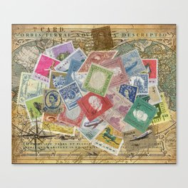 World Stamps Canvas Print