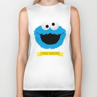 cookie monster Biker Tanks featuring C FOR COOKIE MONSTER by Emils Blums