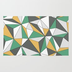 Geo - orange, green, gray and white. Rug