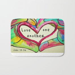 Love One Another John 13:34 Bath Mat