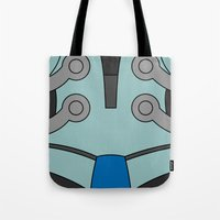 cassia beck Tote Bags featuring Mighty No. 9 Beck Suit by Bunny Frost