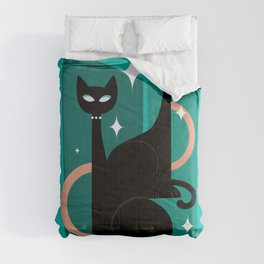 Fashionable Felines Atomic Age Black Kitschy Cats Comforters