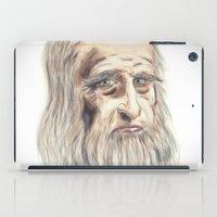 da vinci iPad Cases featuring Leonardo da Vinci Colorful by André Minored