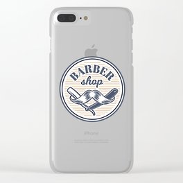 Collection badges, logos with barbershop tools Clear iPhone Case