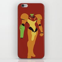 metroid iPhone & iPod Skins featuring Metroid - Minimalist by Adrian Mentus