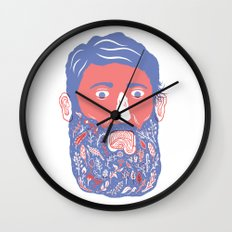 Flowers in Beard Wall Clock